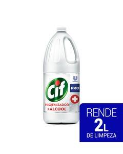 Garrafa transparente de CIF Higienizador + Álcool de 2 litros