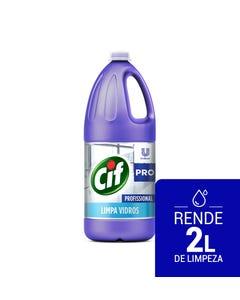 Garrafa transparente de CIF Limpa Vidros de 2 litros com líquido azul