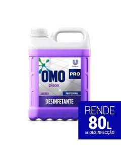 Bombona transparente de OMO Desinfetante de 5 litros com líquido roxo