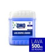 Bombona transparente de OMO Lavagem Perfeita de 7 litros com líquido azul